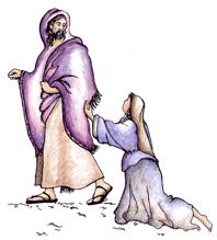 Jesus con la mujer quien El sano