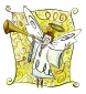 un angelito tocando la trompeta